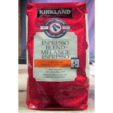 Coffee - Kirkland Brand -  Custom Roasted By Starbucks - Expresso Blend  Dark Roast Whole Bean / 1 x 907 Grams