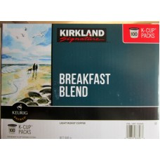 Coffee - Keurig Cups - Kirkland Brand - Breakfast Blend - Light Roast Coffee / 1 x 100 K-Cup Packs