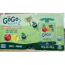 Juice - GoGo Squeez Brand - Organic Juice - Apple Fruit Snack - Pure Blended Fruit - Gluten Free - Nut Free  / 20 x 90 Gram Squeez Pouches