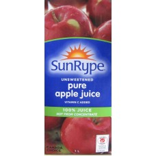 Juice - Apple Juice - Sunrype Brand - 100%  Pure Apple Juice -  12 x 1 Liter  /  Not  From Concentrate