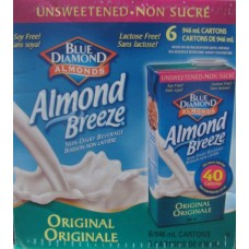 Juice - Blue Diamond Brand - Almond Breeze - Original - Unsweetened - Lactose Free / Soy Free /  6 x 946 ml Cartons / Soy Free / Lactose Free