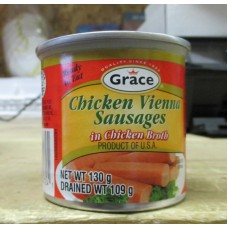 Chicken- Chicken Vienna Sausages In Chicken Broth - Ready To Eat - Grace Brand / 4 x 130 Gram Cans