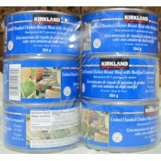 Chicken - Cooked Chunked Chicken Breast Meat with Modified Cornstarch - Kirkland Brand - 22 % Protein / 6 x 354 Gram Cans