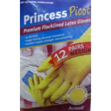 Gloves - Yellow Rubber Gloves - Premium Flocklined Latex Gloves - Raised Grippers - 21 mil Thick -   Princess Picot Brand - 1 x 12 Pairs/ Medium Size