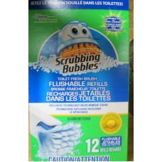 Cleaner - Scrubbing Bubbles Brand - Flushable Refills - Flush The Dirty Pad Away - Citrus Scent / 1 x 12 Refills