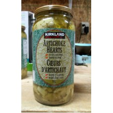 Artichoke Hearts - Kirkland Brand -  Halves & Quarters -  Marinated In Oil / 1 x 1 Liter Glass Jar