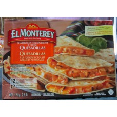Frozen - Chicken Quesadillas - ELMontery Brand - Charbroiled Chicken Breast & Cheese Quesadillas / Frozen Product /  1 x 12 Individually Packaged Quesadillas / 1.2 Kg / 2.6 lbs