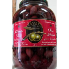 Olives - Tassos Brand - Kalamata Olives - Pitted Olives / 1 x 1.5 Liter