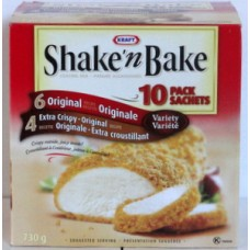 Bread - Coating Mix - Kraft Brand - Shake'n'Bake  1 x 10 Pack =  6 Original And 4 Extra Crispy Original / 1 Box Of 730 Grams / 1.29 Per Package
