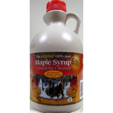 Syrup - Maple Syrup - 100% Pure - Old Fashioned Maple Crest Brand - Original 1 x 1 Liter Jug / ON SPECIAL