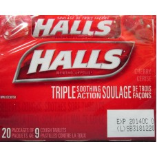 Vitamins - Lozenges Halls - Cough Tablets - Cherry Flavour  / 1 x 20 Packs