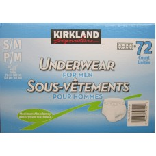 """Pads - Kirkland Brand - Underwear For Men - Small to Medium Size - 28"""" to 40"""" Waist / 1 x 72 Count / """"""""See Pictures For Details """""""""""