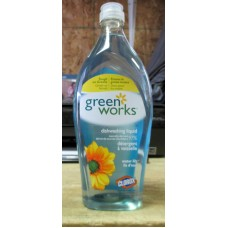 Soap - Dishwashing Liquid - Green Works  Brand - 97% Naturally-Derived - Tough On Grease - Gentle On Hands -  Water Lily Scent - 2 x 650 ml