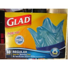 "Garbage Bags - Glad Brand -Easy Tie Recycling Bags - Regular Strenght - Size is 25.62"" x 32.5"" / 1 x 40 Bags"