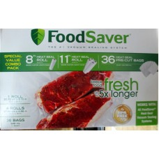 """Ziploc - Food Saver Seal Bags  - Heat - Seal Bags - 4 Rolls 11"""" x 16 Feet  & 1 Roll 8"""" x 20 Feet & 36 Bags Of 1 Quart Size""""See Pictures For More Details"""""""""""