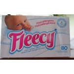Detergent - Laundry - Fabric Softner Sheets - Fleecy Brand - Hypoallergenic - Light And Delicate Fragrance / 1 x 80 Sheets