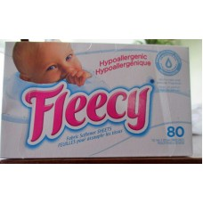 Detergent - Fabric Softner Sheets - Fleecy Brand - Hypoallergenic - Light And Delicate Fragrance / 1 x 80 Sheets