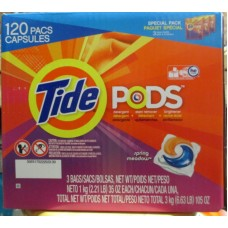 Detergent - Laundry Pods - Tide Product - Spring Meadow Scent - HE Product - 3 Pack Of 40 PodsPer Bag / 1 x 120 Pods