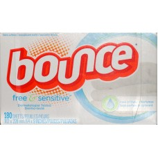 Detergent - Fabric Softner Sheets - Dryer Sheets -Bounce - Free & Sensitive - 1 x 180 sheets