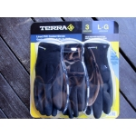 Gloves - Terra Brand - Lined PVC Coated Gloves - Cold Weather Protection - Large Size Gloves / 1 x 3 Pairs