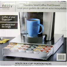 Coffee - Nifty Solutions Brand - K- Cup Holders - Single Drawer For 36 Coffee Pods / Stainless Steel Coffee Pod Drawer