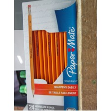 Office Supplies - Pencils - Paper Mate Brand - Woodcase Pencils - HB#2 / Sharpens Easily / 1 x 24 Pencils
