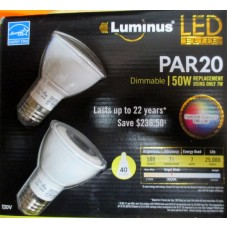 Bulbs - Luminus Brand - LED Elite Product - PAR 20 Dimmable - 7 Watt Usage - Replaces 50 Watt Bulb - Energy Star Product - Warm White Color - 40 Degree Flood - 1 x 2 Bulbs