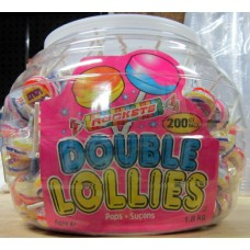 Candy - Lollipops - Candy Suckers - Double Lollies - 1 x 200 Lollipops / Plastic Container /  1.8 Kg