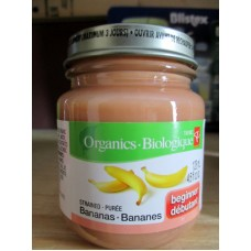 Baby Food - President Choice Brand - Strained Bananas - Beginner - Organic / 3 x 128 ml / 4.5 fl. oz.