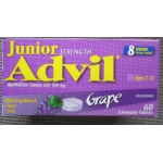 Baby - Advil Junior Strenght Ibuprofen Tablets - Grape Flavour - Ages 2 -12  / 8 Hour Fever & Pain Relief / 1 x 60 Chewable Tablets