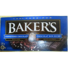 Baking - Baking Chocolate - Kraft Brand - Baker's Unsweetened Chocolate / 100% Pure / 1 x 225 Gram Box