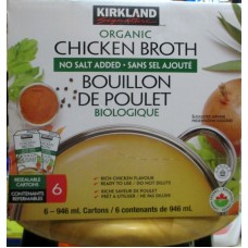 Broth - Organic Chicken Broth - Kirkland Brand - No Salt Added - Resealable Cartons -  6 x 946 ml Cartons