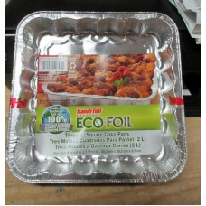 Baking - Foil - Cake Pans Square - Eco-Foil Brand - Made Of 100% Recycled Aluminum - 8 in. x 8 in. x 1.5 in. Deep - 3 x Square Pans