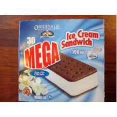 Frozen - Ice Cream Sandwich - Originale Augustin Brand - Made With Cream - Mega Size Box - Individually Wrapped - Peanut Free - Frozen Product  / 30 x 190 ml Sandwich Bar