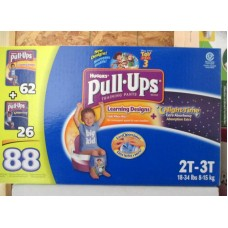 Diapers -  Huggies - Pull Ups - Boys - Size  2T-3T/ 8- 15 Kg / 18 - 34 Lbs / 1 x 88 Diapers - 62 Day Diapers + 26 Night Diapers = 88 Diapers