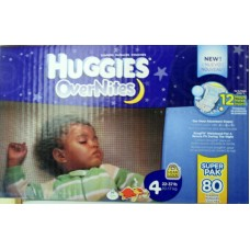 Diapers - Huggies - Overnites - Size #4 - Diapers - For 10 - 17 Kg Babies / 22 -37 lbs / 1 x 74 Diapers