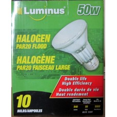 Bulbs - 50 Watt - Halogen Par 20 Flood - Luminus Brand  / 1 x 10 Bulbs  / *5000 Hours*