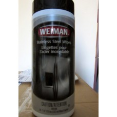 "Wipes - Stainless Steel Wipes - All Purpose - Weiman Brand   / 1 x 30 Wipes / 7"" x 8"" See Pictures For More Details"