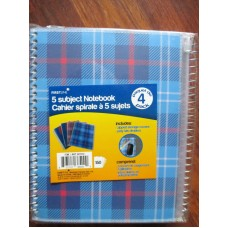 Office Supplies - Notebook - Firstline Brand - 5 Subject Notebook - Includes Zipped Storage Covers - Poly Tab Dividers - 150 Pages Per Notebook / 1 x 4 Notebooks