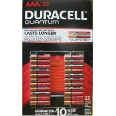 Batteries - Duracell Quatum - AAA  Size - Alkaline Battery -  Guaranteed For 10 Years In Storage / 1 x 22 Batteries