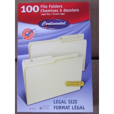 Office Supplies - File Folders -  Continental Brand - Letter Size File Folders 2 x 100 =  200  Folders