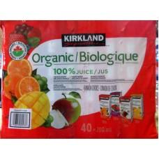 Juice - Kirkland Brand - Organic Juices - Variety Pack - 10 Orange Blend & 10 Mixed Berry & 10 Mango-Orange & 10 Apple Juice / 40 x 200 ml