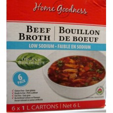Broth - Organic Beef Broth - Home Goodness Brand - Low Sodium - Gluten Free - Fat Free  / 6 x 1 Liter Resealable Containers