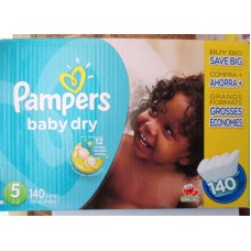 Diapers - Pampers - Step 5 - Pampers Baby Dry - 12 Kg and Up / 27 lbs and Up / 1 x 132 Diapers