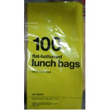 Ziploc - Paper Lunch Bags - No Name Brand - Flat-Bottomed Lunch Bags - 13.3 cm x 8.7 cm x 27.7 cm / 1 x 100 Bags