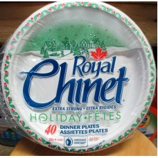"Plates - Christmas Decorated Paper Plates - Dinner Plates - Extra Strong - Chinet Brand 10 3/8"" Diameter / 1 x 40 Plates"