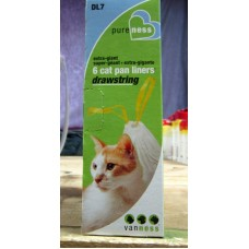 Pet Supplies - Cat Pan Liners With Drawstring Extra Lage - Vaness Brand / 1 x 6 Bags