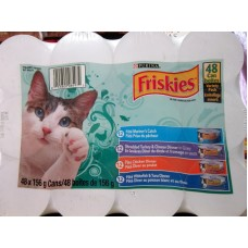 Pet Supplies - Cat Food Wet -  Purina Brand - Cat Food - Friskies - 48 Cans x 56 Grams/ 12 Mariner's Catch/12 Turkey & Cheese Dinner/ 12 Chicken Dinner/ 12 Whitefish & Tuna Dinner