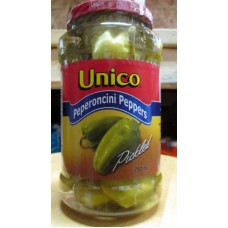 Pickles - Peperoncini Peppers - Unico Brand -  Pickled  / 1 x 750 ml Plastic Jar