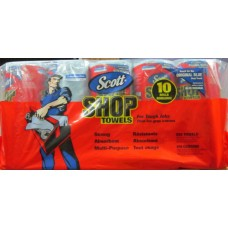 Towel - Scott Brand - Shop Towels - Individually Wrapped - 1 x 10 Rolls / 55 Sheets Per Roll = 550 Sheets  *see photos for details